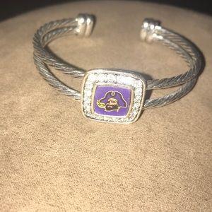 Ecu Pirates Silver Cuff Bracelt
